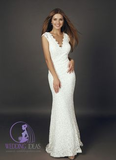 V-neck mermaid dress. Silver thread design on the whole, lace on the V-neck and end of skirt. More wedding ideas at http://www.e-weddingideas.com/2016/04/11/the-third-part-470-amazing-wedding-dresses-youve-never-seen/