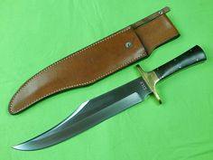US Custom Hand Made James B. LILE Large Bowie Hunting Knife & Sheath