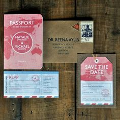 Passport Wedding Invitation Set & Save The Date card or