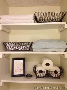 diy shelves over the toilet! Bathroom Shelf Decor, Bathroom Kids, Bathroom Renos, Bathroom Storage, Linen Cabinets, Upstairs Bathrooms, Built In Storage, Home Staging, Getting Organized