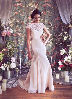 Blush and Ivory Trumpet Lace Bridal Gown French Lace by rschone, $2498.00