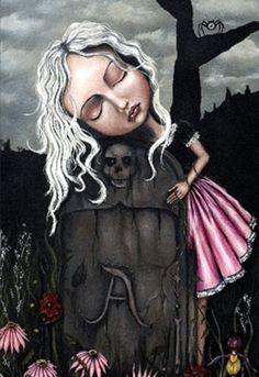 Angelina Wrona - Remembrance This hangs in my home as a tribute to my first baby that never got to take a breath. I lovingly think of them every time I look at this. Kunst Poster, Galerie D'art, Goth Art, Lowbrow Art, Pop Surrealism, Surrealism Painting, Stretched Canvas Prints, Figurative Art, Dark Art