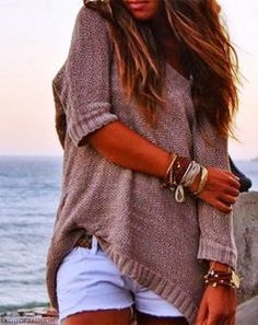 3/4 Sleeves Slouchy Sweater With White Shorts Cute beach outfit