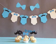 Items similar to Little man baby shower decorations, Onesie banner birthday party, mustache, bow tie cupcake topper on Etsy Juegos Baby Shower Niño, Dibujos Baby Shower, Little Man Birthday, Baby Birthday, Birthday Parties, Boy Decor, Baby Room Decor, Bow Tie Cupcakes, Baby Shower For Men