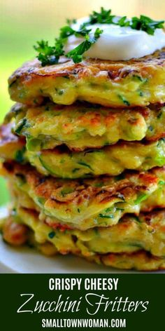 Crispy Cheesy Zucchini Fritters are a quick and easy family favorite. These fritters are over the top with crispy edges and buttery Gouda cheese. Side Dish Recipes, Vegetable Recipes, Vegetarian Recipes, Cooking Recipes, Healthy Recipes, Aloo Recipes, Milk Recipes, Beef Recipes, Cake Recipes