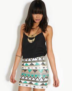 Glamorous  Sequin Aztec Mini Skirt - BANK Fashion