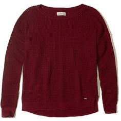 Hollister Waffle Crewneck Sweater ($35) ❤ liked on Polyvore featuring tops, sweaters, red, waffle sweater, waffle knit sweater, red crew neck sweater, hollister co. sweaters and slit sweater