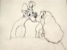 Walt Disney Sketches - Tramp & Lady - walt-disney-characters Photo