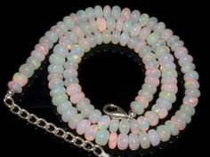 Natural Ethiopian Welo Opal Gemstone Rondelle Plain Beads 80 Ct. Necklace #0477