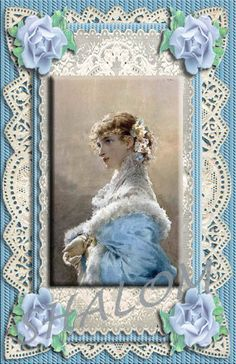 Vintage Lady in Blue Victorian Shabby Chic Paper Lace style Greeting Card - Digital Printable Download - (blank for any occasion) by TreasuresOfJen on Etsy