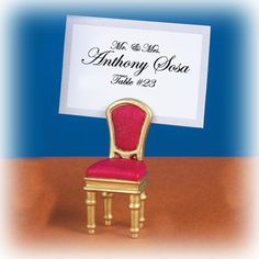 """Perfect for Elegant Themed Weddings, our Gold Chair Placecard Holders will make your reception complete. Each placecard holder Measures approx: 2 1/4""""H x 1 1/2W""""."""