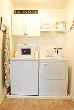 laundry room ideas | 10 Cozy Laundry Room Decorating Ideas | Shelterness  Love the laundry detergent placement.  Cute ironing board hanger.