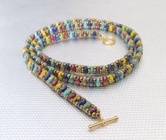 Multicolor beaded bracelet/superduo raku bracelet/skinny boho bead jewelry gift for her Bracelets Hippie, Bracelets Diy, Making Bracelets With Beads, Beaded Wrap Bracelets, Seed Bead Bracelets, Seed Bead Jewelry, Hippie Jewelry, Handmade Bracelets, Fashion Bracelets
