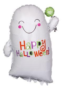 """Folienballon """"Lächelnder Geist - Happy Halloween""""; Größe: 56 cm (22""""); Halloween Geist mit seinen rosaroten Wangen, der keineswegs furchteinflößend ist"""
