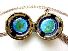 Oil-Painted Locket, Planet Earth in Outer Space, Long Distance Love between United States and Europe,  Unique Gift on Etsy, $45.00