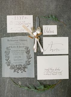 Calligraphy Rehearsal Dinner Invitations by Laura Catherine via Oh So Beautiful Paper (5)