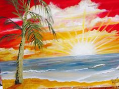 Paint Party, Sunrise, Painting, Sun, Painting Art, Paintings, Painted Canvas, Sunrises, Drawings
