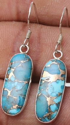 Blue Copper Turquoise .925 Sterling Silver Jewelry Earrings 1.4""