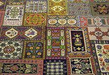 Rug made of embroideries. Katarina Brieditis - Textile Design