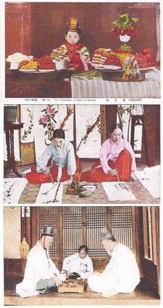 "Korea vintage postcards 1930-40s. Top: ""The celebration of birth of Korean"".  Middle and bottom: both uncaptioned ""Made in Japan"" on back."