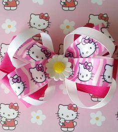 798fb21a1 Hello Kitty Hair Bow, Girl Hair Bow. Hair Bow for girls. Hair Accessories. Girls  Bow. Bows for Girl
