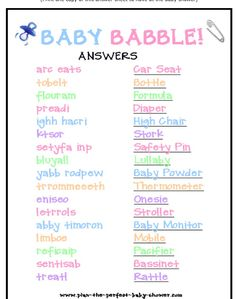 New, fun and free Baby Shower Word Scramble Game! This free printable baby showe… New, fun and free Baby Shower Word Scramble Game! This free printable baby shower game is already for you to print, and everyone at the party will enjoy it! Idee Baby Shower, Bebe Shower, Baby Shower Wording, Fiesta Baby Shower, Girl Shower, Shower Party, Baby Shower Parties, Shower Gifts, Boy Baby Showers