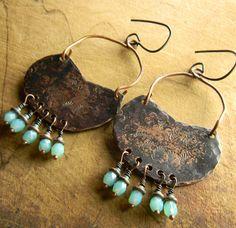 Rustic Hammered Copper Chandelier Earrings Blue by ChrysalisToo