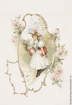Vintage French lady in frame of pale pink roses. Vintage Abbildungen, Images Vintage, Decoupage Vintage, Decoupage Paper, Looks Vintage, Vintage Crafts, Vintage Labels, Vintage Ephemera, Vintage Pictures