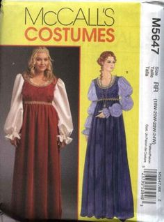 McCall's Sewing Pattern 5647 Women's Plus Size Renaissance Costumes Long Dresses Renaissance Costume, Medieval Costume, Renaissance Clothing, Costume Patterns, Dress Patterns, Mrs Clause Costume, Vintage Outfits, Mccalls Sewing Patterns, Diy Dress