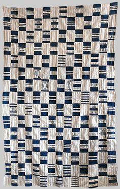 Africa   Womens wrapper Indigo. Cotton Strip weave Ewe people Ghana   mid 20th century