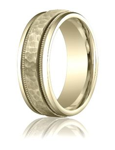Womens 14K Yellow Gold, 8mm Comfort-Fit Hammered Milgrain Carved Band (sz 15) -- To view further for this item, visit the image link.