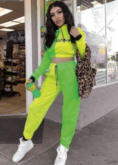 Sabrosa Cropped Hoodie - Neon Green Outfits, Socks And Sandals, Cropped Hoodie, Tomboy, Baddies, Tennis, Bring It On, Yellow, Clothing