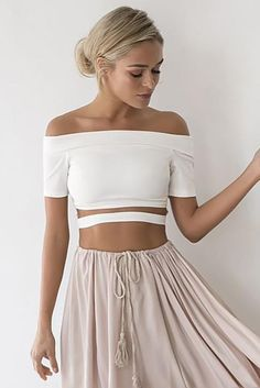 520a0b0b53a8 Off Shoulder Cut Out Short Sleeves Short Crop Top. CamisoleShoulder  TopsShoulder ...