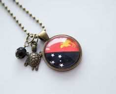 Flag of Papua New Guinea Necklace  Flag Necklace  by OxfordBright