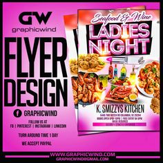 Top Flyer of the day! Seafood and Wine - Ladies Night Flyer Design We create an attractive Flyer design with a fast turn around time. For high-quality Flyer designs Contact us at web: www.graphicwind.com or please email us to graphicwind@gmail.com Flyer Design, Logo Design, Ladies Night, Flyer Template, Creative Design, Seafood, Wine, Create, Top