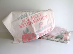 Vintage Muslin Rice Sack Bag Lucky Rose by RollingHillsVintage