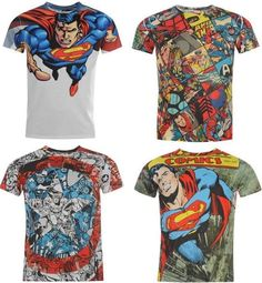Marvel Comics Mens T Shirt Top Captain America Superman Hulk Spiderman Superhero
