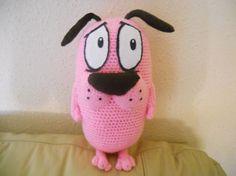 agallas el perro cobarde - amigurumi lana,fieltro,guata amigurumi,crochet