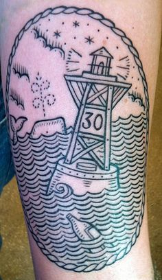 black line nautical tattoo with bouy and whale by Duke Riley