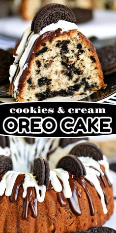 This easy Cookies and Cream OREO Cake is sure to delight the entire family! - Mom On Timeout Recipes - This easy Cookies and Cream OREO Cake is sure to delight the entire family! - Mom On Timeout Recipes - Oreo Cake Recipes, Pound Cake Recipes, Easy Cake Recipes, Easy Oreo Cake Recipe, Vegan Recipes, Cookies And Cream Cake, Oreo Cookies, Oreo Cookie Cake, Bunt Cakes