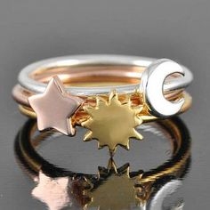 Moon ring sun ring star ring half moon ring by JubileJewel on Etsy Sun And Moon Rings, Moon And Star Ring, Stars And Moon, Sun Moon, Moon Necklace, Star Necklace, Best Friend Jewelry, Moon Jewelry, Personalized Rings