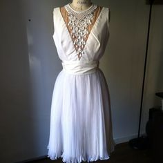 """Vintage Marilyn Monroe white beaded pleated Dress Vintage cocktail gown as is, in good wearable condition, there are a few scant stains on belt and back but honestly they're not that noticeable while worn. I would even just change the belt.  Bust 18"""", waist 13.5"""", length 38"""". Vintage Dresses"""