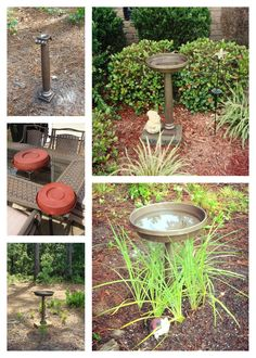 Homemade bird bath made from floor candlestick holders and planter trays spray painted and assembled with liquid nails. Use paving stone to create level foundation under dirt or as an above ground stand. Total price for TWO birdbaths was under $20!