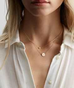 Set of 2 Dainty Layering Necklaces: Personalized Disk Necklace and Custom Gemstone/Birthstone Necklace. Available in Sterling Silver, 14k Gold Filled or Rose Gold Filled.