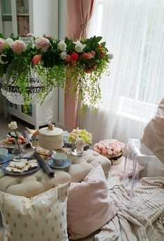 This Eid (Eid ul Adha) we decided to use pink, white and faux flowers to create these tea party decorations.