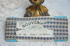 Vintage French trim, NOS, new old stock, original label, vintage tape, blue and white, ribbon trim, jacquard trim, woven braid, 25 metres
