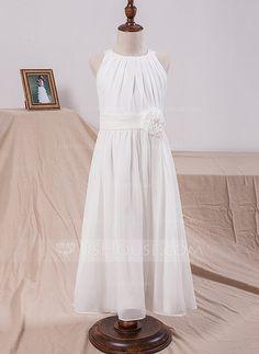 A-Line/Princess Scoop Neck Tea-length Flower(s) Chiffon Sleeveless Flower Girl Dress Flower Girl Dress