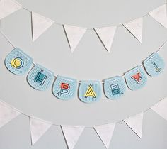 Printable Oh Baby! Blue Banner by Smallful. Make It Now with the Cricut Explore machine in Cricut Design Space.