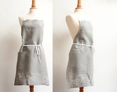 Linen Apron with white Birds  Eco friendly apron  by LesMiniboux, €47.00