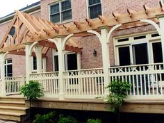 Custom Arbor with Deck Railing and Wooden Porch - Contemporary - Entry - DC Metro - by Land Art . Veranda Pergola, Front Porch Pergola, Cedar Pergola, Front Porches, Trellis Design, Wood Arbor, Garden On A Hill, Deck Railings, Building A Deck